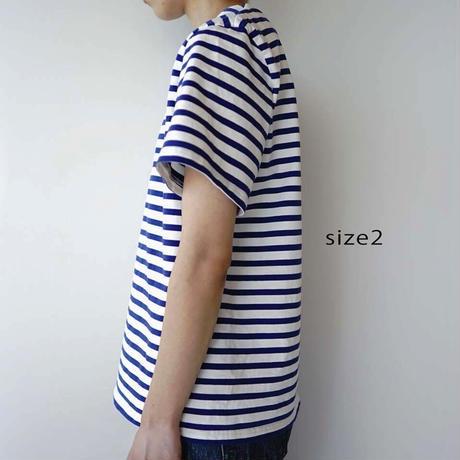 pablo cotton/center back tshirt / blue border/size1・2
