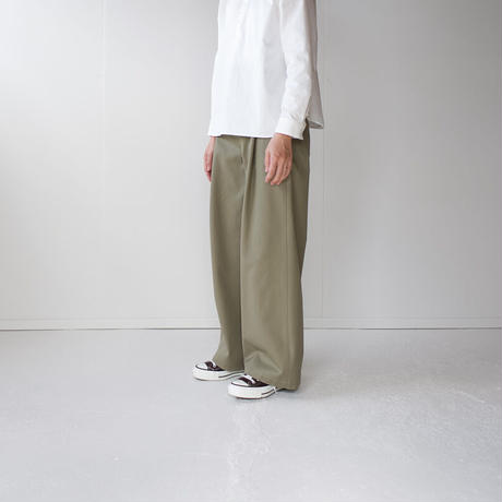 twill cotton /tack wide pants/khaki