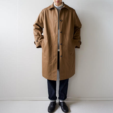 twill cotton/bal collar coat/brown