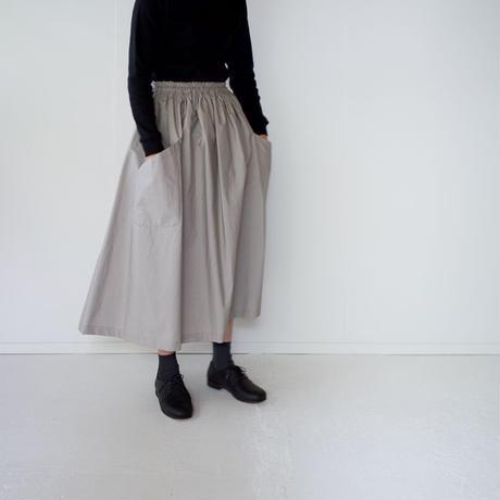 typewriter cotton gather skirt/gray beige