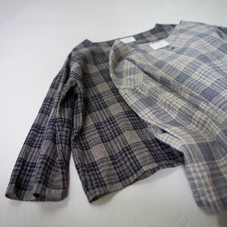 cotton linen check/pullover shirt/navy
