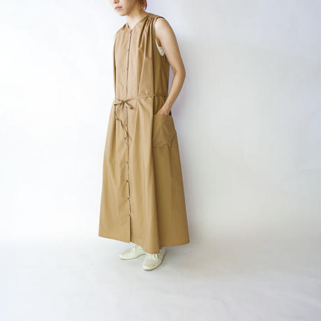 air tumbler cotton/tuck gather long onepiece/beige