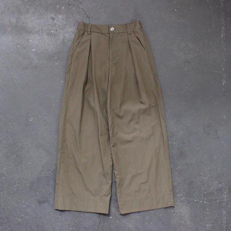 cotton linen weather cloth wide pants/ka-ki