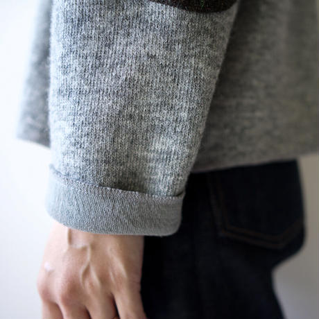 elbow patch knit/gray