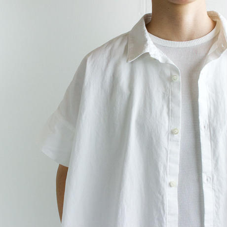 weather cloth cotton linen/short sleeve shirt one piece/white