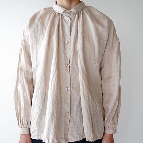 canvas washer french linen/gather blouse/short(size1)/black、beige、light blue