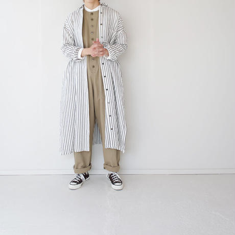 original cotton linen/ long shirt one piece/white