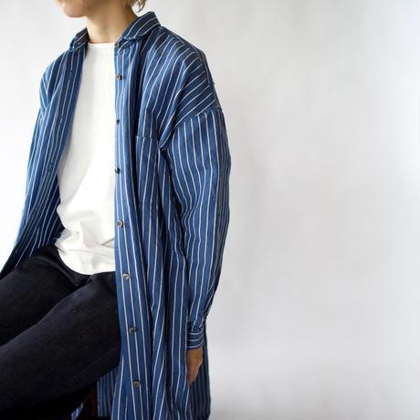 original cotton linen/ long shirt one piece/blue