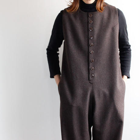 flannel wool overall/brown