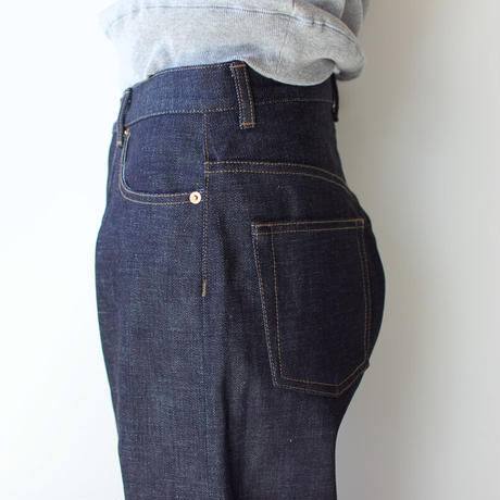 14oz.selvedgedenim jeans/non wash wide straight