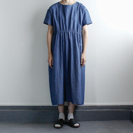 indigo cotton linen/gather one piece