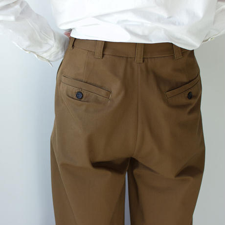twill cotton /tack wide pants/brown