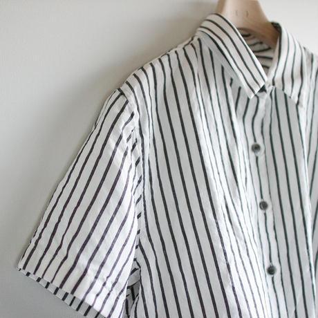 original cotton linen/ short sleeve shirt/white/size2(MAN)
