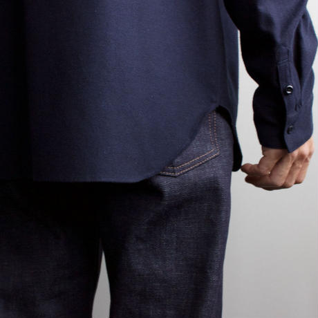 cotton flannel/raglan shirt/navy/size2(MAN)