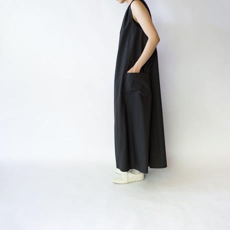 air tumbler cotton/tuck gather long onepiece/black