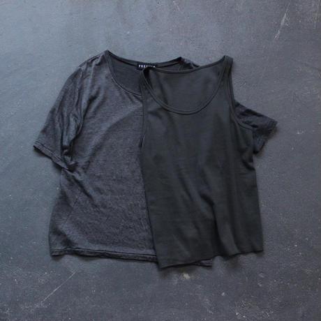 linen T cotton tank top set/charcoal gray