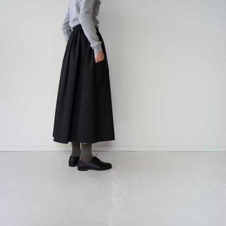 typewriter cotton gather skirt/black