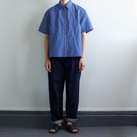 original cotton linen/ short sleeve shirt/blue/size free