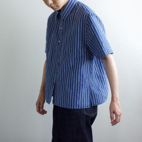 original cotton linen/ short sleeve shirt/blue/sizeFREE