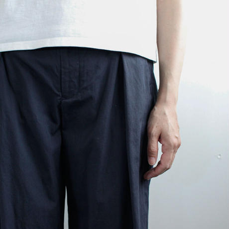 weather cloth cotton linen/wide pants/navy