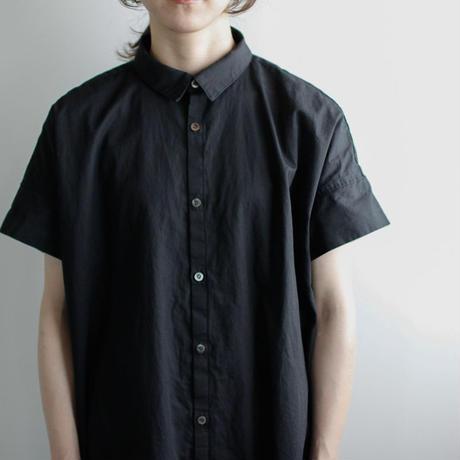 weather cloth cotton linen/short sleeve shirt one piece/black