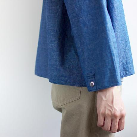 indigo cotton linen/pullover shirt