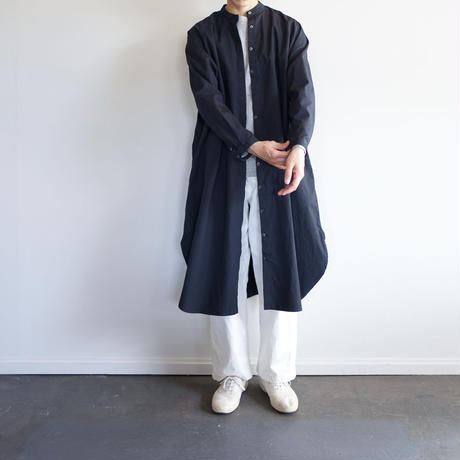 weather cloth cotton linen/raglan shirt one piece/navy