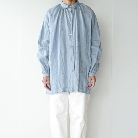 canvas washer french linen/gather blouse/long(size2)/black、beige、light blue