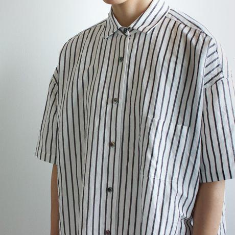 original cotton linen stripe/ short sleeve one piece/white