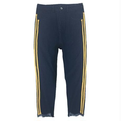 メンズ黄色ストライプサイドラインカットオフデニムジーンズ青黒