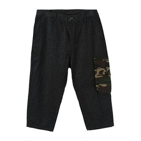 メンズサイド迷彩柄ポケットクロップド黒デニムジーンズ