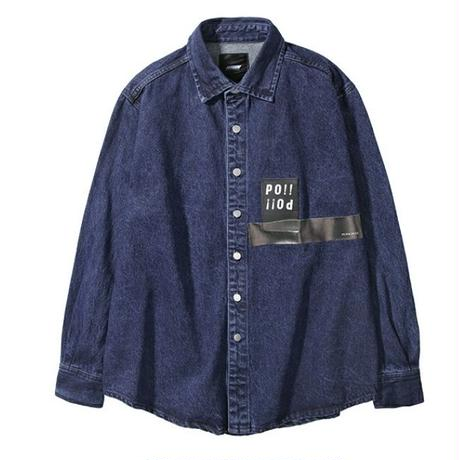 メンズポイントロゴオーバーサイズ青デニム長袖シャツ