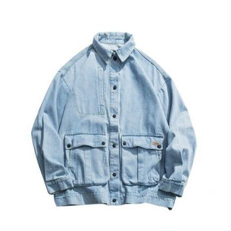 メンズ大きいポケットスナップボタン黒青デニムジャケット