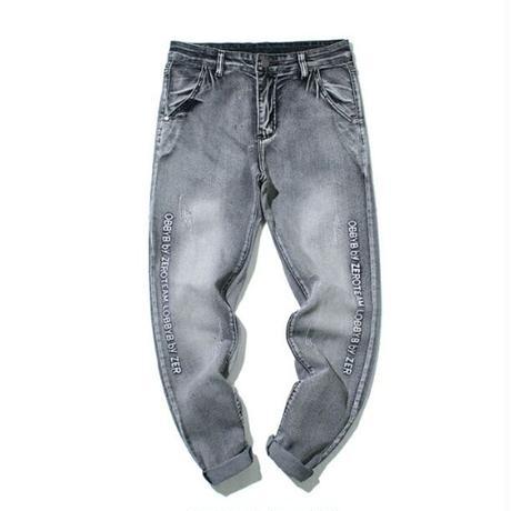 サイズ豊富ユニセックスサイドロゴ黒グレーデニム色落ちジーンズ
