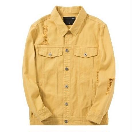 メンズ秋アウター白ピンク黄色ダメージデニムジャケット