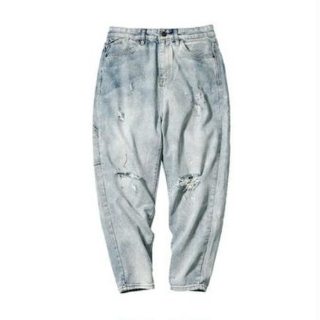 メンズテーパードフィットダメージ淡い青デニムジーンズ