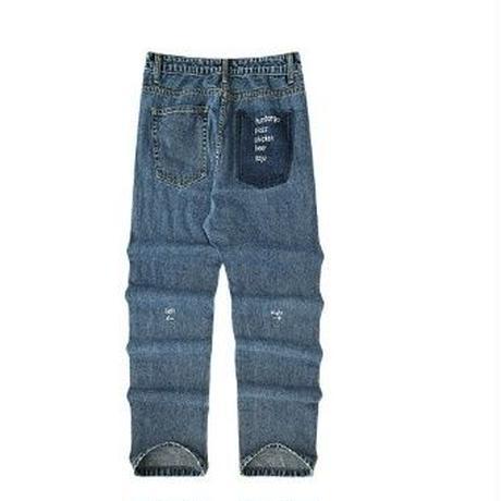 メンズポケット&小さいロゴレギュラーフィットジーンズ