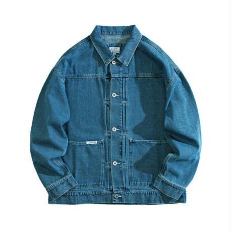 メンズスマホ収納可能大きいポケットデニムジャケット青黒