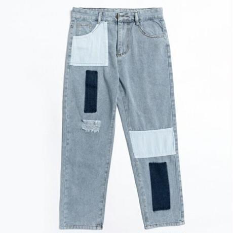 メンズ青デニムパッチワーク風ダメージジーンズ