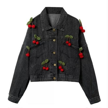 立体さくらんぼ/オーバーサイズ黒デニムジャケット