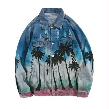 メンズやしの木モチーフプリントデニムジャケット