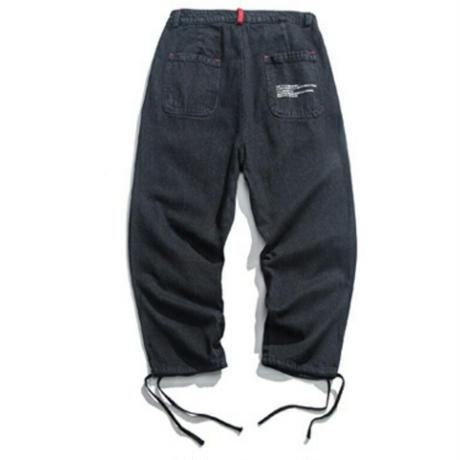 メンズポイントロゴ青黒裾絞りデニムパンツ