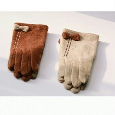 ポイント小さいかわいいリボン/ウール手袋2色