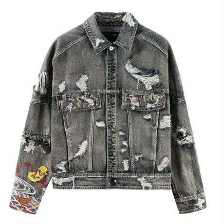 メンズ袖アジアン刺繍ハイダメージ黒デニムジャケット