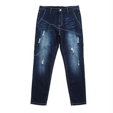 メンズ青デニムおしゃれステッチ色落ちジーンズ