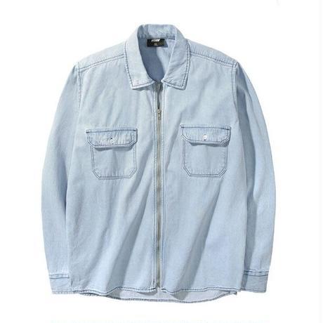 メンズライトブルーフルジップ/デニムシャツジャケット