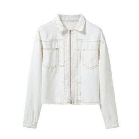 白/青デニムフルジップアップシンプルジャケット