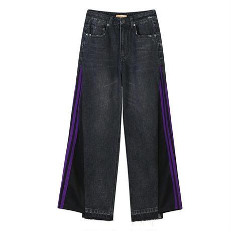 サイドスポーティ紫ストライプ黒異素材ミックスワイドジーンズ
