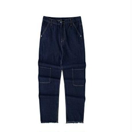 メンズ黒ネイビーデニムポケットワイドストレートジーンズ