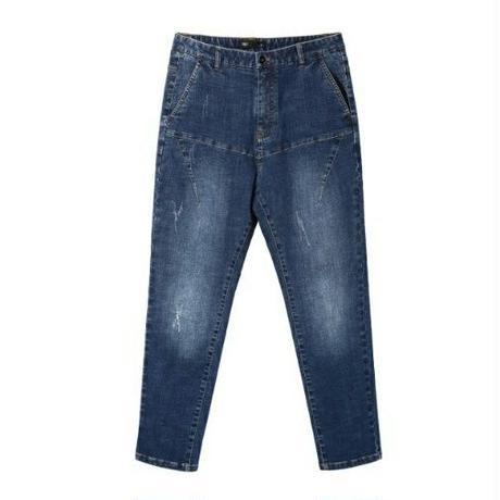 メンズ縦色落ちちょっとのダメージ青デニムジーンズ